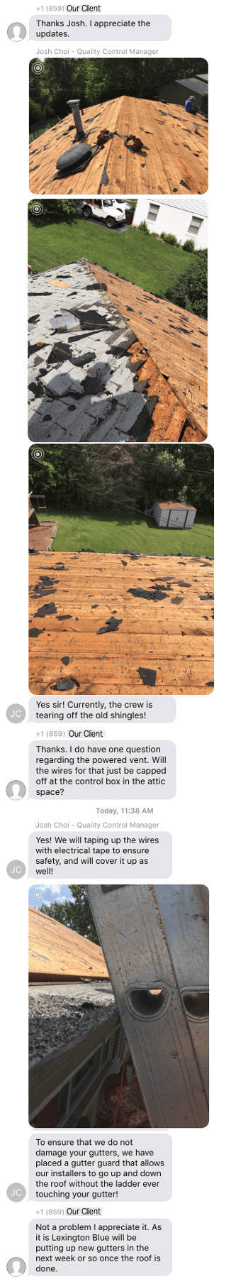text message roofing progress report for client