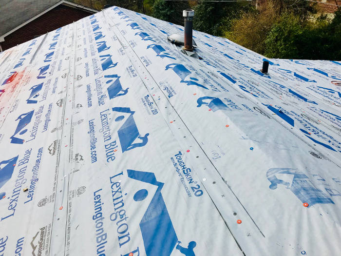 installed lexington blue synthetic roofing felt 10-13-17