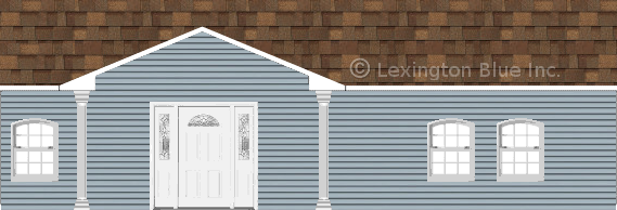 blue vinyl siding home aged cedar colored shingle