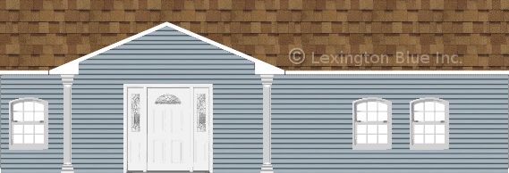 blue vinyl siding home desert tan colored shingle