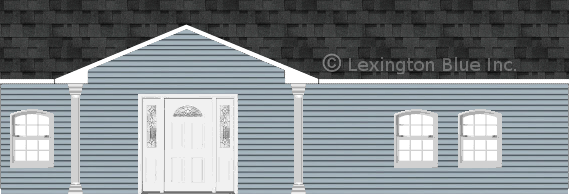 blue vinyl siding home twilight black colored shingle