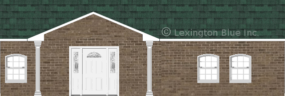 brown brick house chateau green colored shingle
