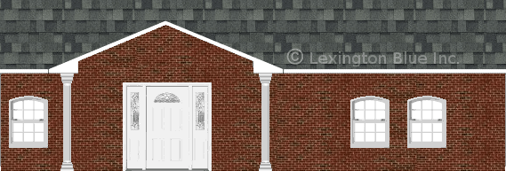 red black brick house estate gray colored shingle