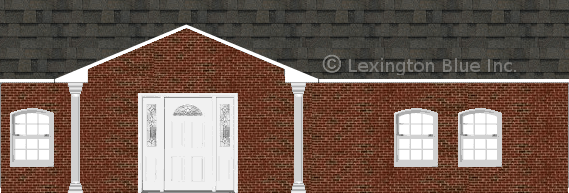 red black brick house peppermill gray colored shingle