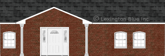 red black brick house twighlight black colored shingle