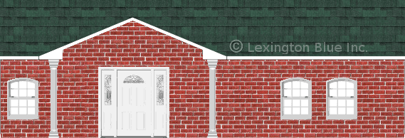 red brick house chateau green colored shingle