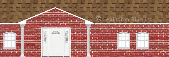 red brick house desert tan colored shingle