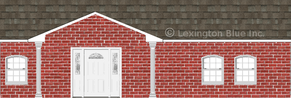 red brick house driftwood colored shingle