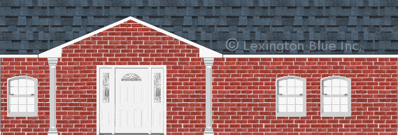red brick house harbor blue colored shingle
