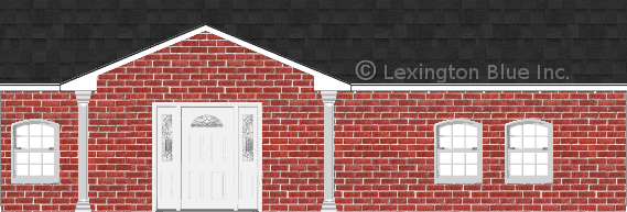 red brick house onyx black colored shingle