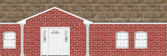 red brick house sand castle colored shingle