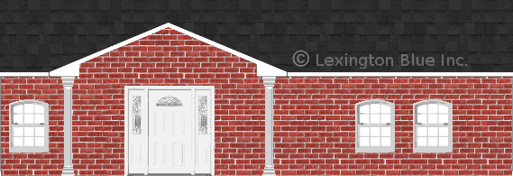 red brick house twilight black colored shingle