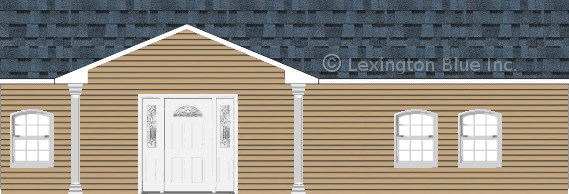 tan vinyl siding home harbor blue colored shingle