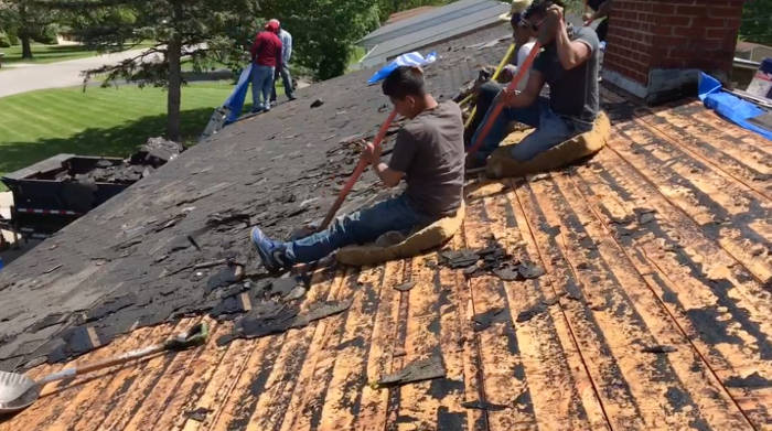 scraping off old roofing felt 5-18-17